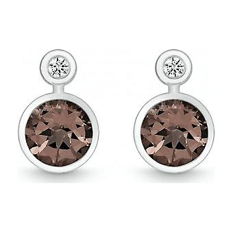 QUINN - Studearrings (Pair) - Silver - Diamond - Smoke quartz - Wess. (H) - 36393932