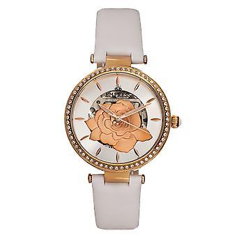 Empress Anne automaattinen semi-Skeleton nahka-Band Watch-valkoinen