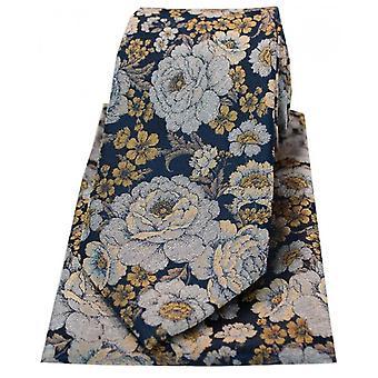 David van Hagen blomster silke slips og Hanky sæt-Navy/sølv/guld