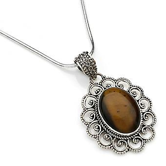 Kettinghanger 925 Silver Tiger's Eye incl. Silver Chain (x 1 mm/nr. 83)