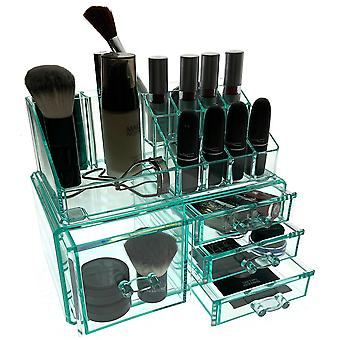 OnDisplay Cosmetic Makeup and Jewelry Storage Case Display - 4 Drawer Turquoise Design - Perfect for Vanity, Bathroom Counter, or Dresser