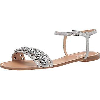 Jewel Badgley Mischka Women's KIMORA Sandal, silver glitter, 8.5 M US