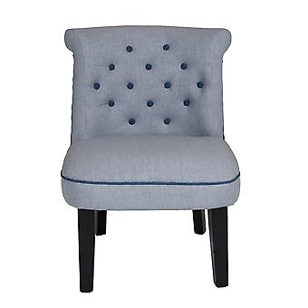 Charles Bentley Linen Occasion Accent Chair Lounge/Hallway/Bedroom/Dressing Room Grey with Blue Buttons and Piping