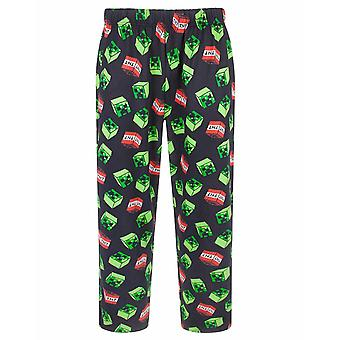Minecraft Creeper Face TNT Över Print Män & apos; s Black Lounge Pants Nightwear