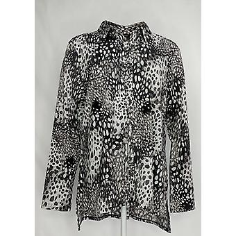 H by Halston Women's Top Animal Printed Button Front Tunic Black A366428