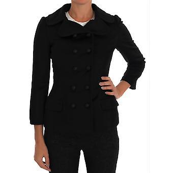 Dolce & Gabbana Black Wool Stretch Trench Jacket