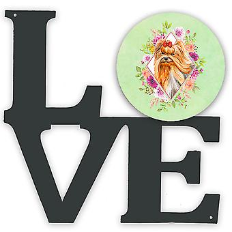 Yorkshire Terrier #2 Green Flowers Metal Wall Artwork LOVE