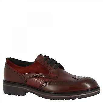Men's handmade brogues derby shoes in burgundy calf leather