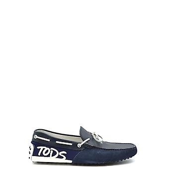 Tod's Ezbc025075 Men's Blue Leather Loafers