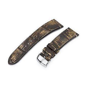 Strapcode alligator montre sangle 20mm ou 22mm miltat italien italien alligator ventre miel brun bracelet de montre