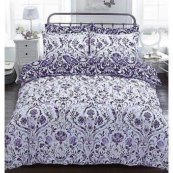 Painted Damask Purple Bedding Set