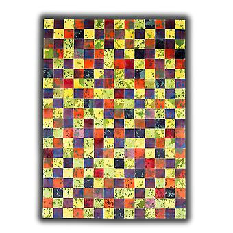 Rugs -Patchwork Leather Cubed Cowhide - Multi Acid Colours