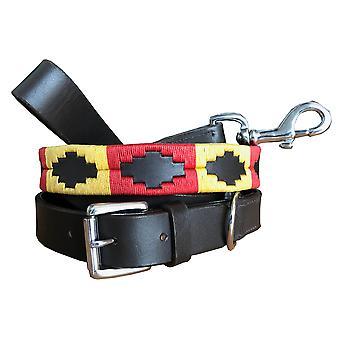 Carlos diaz genuine leather  polo dog collar and lead set cdkupb403