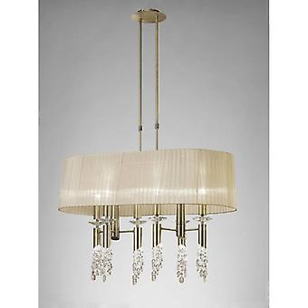 Tiffany Pendant 6+6 Light E27+g9 Oval, Antique Brass With Soft Bronze Shade & Clear Crystal