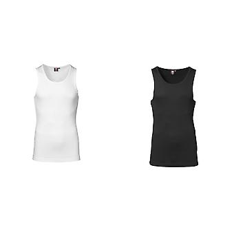 ID Mens 1x1 Rib Sleeveless Fitted Singlet/Vest