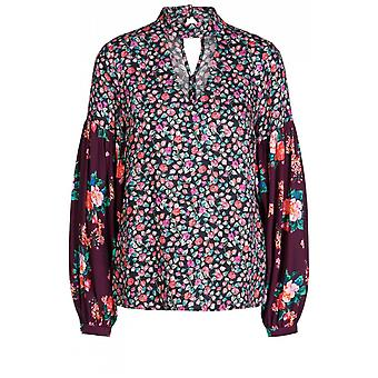 Oui Floral Bell Sleeve Blouse