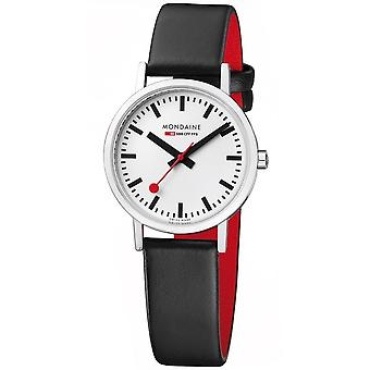 Mondaine Classic Quartz White Dial Black Leather Strap Ladies Watch A658.30323.11SBB