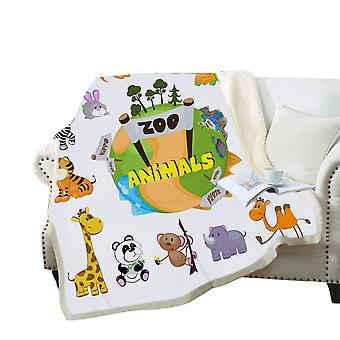 3D colorful cartoon animals blanket Polyester multi-purpose blanket high-quality