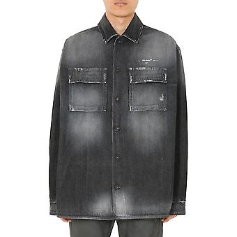 Off-white Omyd017s20h430211001 Männer's schwarze Baumwolle Shirt