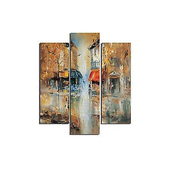 Bunte Matilda Malerei in MDF, L19xP0.3xA50 cm (2 Stück), L19xP0.3xA60 cm (1 Stück)