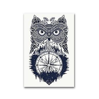 Ugle og kompass tatovering kunst plakat -bilde av Shutterstock