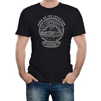 Reality glitch flat earth snow globe - show me the curvature mens t-shirt