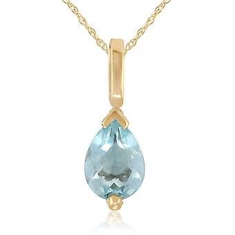 Classic Pear Aquamarine Pendant Necklace in 9ct Yellow Gold 22556
