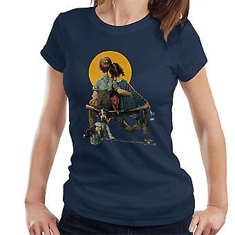Lørdag kveld Post Norman Rockwell Sunset 1926 Cover Dame's T-skjorte