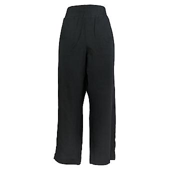 AnyBody Women's Pants Petite French Terry Snap Black A367684