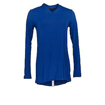 H by Halston naiset ' s Top Essentials pitkähihainen V-pääntie neulottu sininen A283805