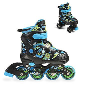Byox Inliner Roller patina Zax 2 ajustável em 1 rodas de tamanho azul S, M ou L PU