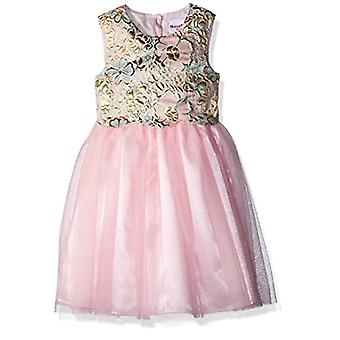 Nannette Girls' Little Brocade mesh Dress, Pink, 6X