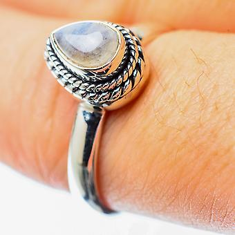 Rainbow Moonstone Ring Size 8.25 (925 Sterling Silver)  - Handmade Boho Vintage Jewelry RING25691