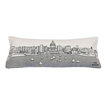 Spura Home Madison Pictorial Print Skyline Contemporary Wool Day/Night Cushion