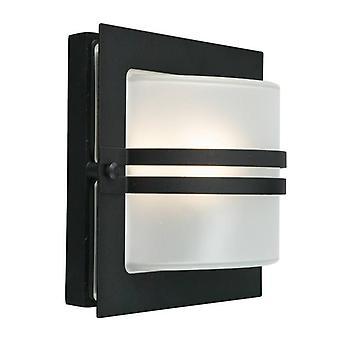 1 Lys Udendørs Frosted Wall Light Black IP65, E27