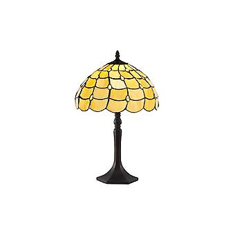 Luminosa Lighting - 1 Light Octagonal Table Lamp E27 With 30cm Tiffany Shade, Beige, Clear Crystal, Aged Antique Brass