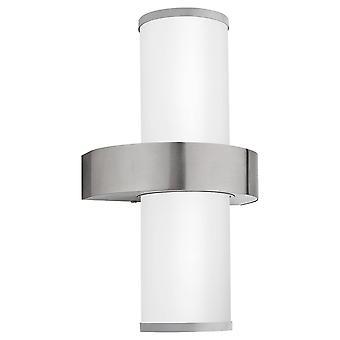 2 Light Outdoor Wall Light Stainless Steel, Silver IP44, E27