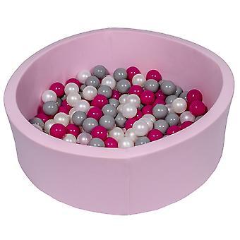 Różowy pit kulowy 90 cm ze 150 kulkami z perły, fioletu i szarości