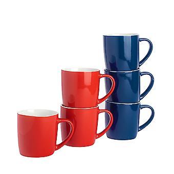 Argon Tableware Tea Coffee Mugs - 6pc Contemporary Coloured Ceramic Cups Set - 350ml - Red & Navy