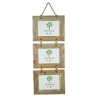 """Nicola Spring 7 x 5 Wooden Hanging Multi 3 Photo Picture Frame - Fits 7x4"""" Photos - Natural"""