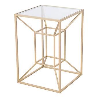 Contemporary Geometric Gold and Glass End Side Accent Table
