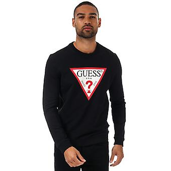 Men's Guess Audley Clear Stretch Crew Sweat in Schwarz