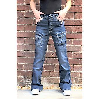 High Rise Wide Leg Cargo Jeans Stretch Denim Kampfhose