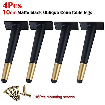 4pcs Furniture Table Legs Black Gold Metal Tapered Feet For Sofa Cupboard Wardrobe With Mounting Screws