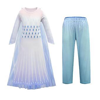 Mrazené 2 Dievčatá Princezná Kráľovná Elsa Maškarné šaty Cosplay Party Kostým