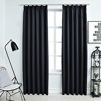 Darkening curtains with hook 2 pcs. Anthracite 140x245cm