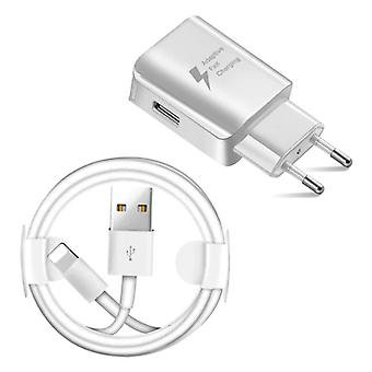 Nohon Fast Charge Plug Charger + Charging Cable Lightning For iPhone / iPad / iPod - 3A Quick Charge 3.0 Charger Adapter and Data Cable White