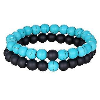 2pcs/set 7 Style Couples Distance Natural Stone Yoga Beaded Bracelet / Women
