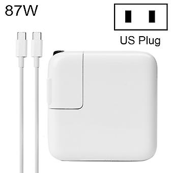 87W Type-C Power Adapter Portable Charger with 1.8m Type-C Charging Cable, US Plug, For MacBook, Xiaomi, Huawei, Lenovo, ASUS and other Laptops(White)