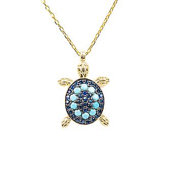 Tortue Turquoise Bleu Pendentif Collier Or